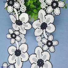 1pcs 1yard 9.3cm DIY New lace fabric ribbon Hollowed black and white water soluble embroidery milk silk colorful