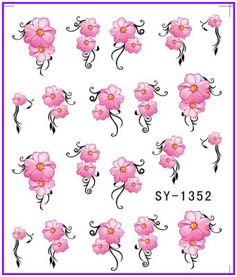 Yzwle Water Stickers Metallic Nail Decals Flower Vine Rosemary Zipper Heart Chain Punctual Timing Stickers & Decals Beauty & Health