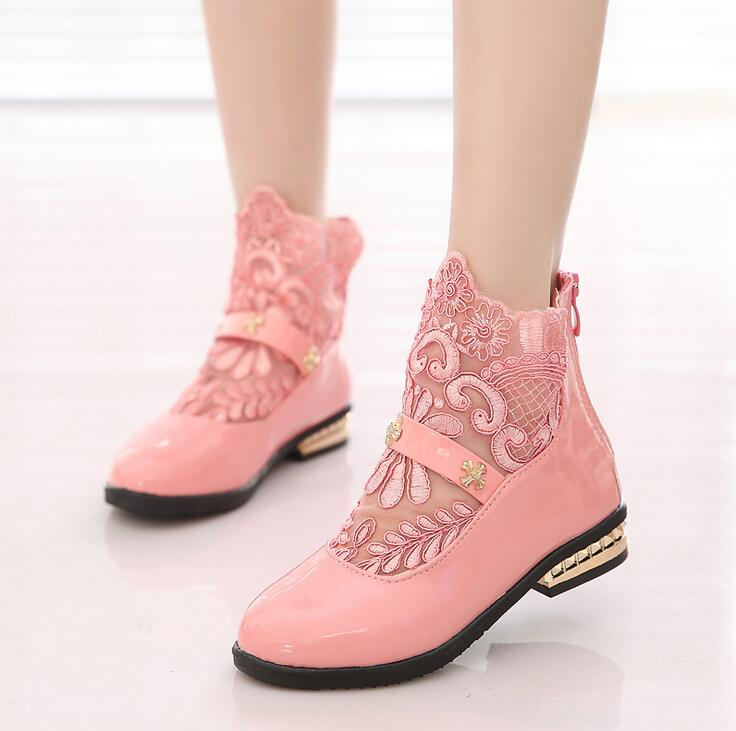 Newest 2016 Spring Summer Baby Girls Lace Leather Shoes Fashion Kids Princess Party Shoes Children Flat Shoes Birthday gift