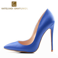 Brand Women Pumps Blue Shoes Woman High Heels Sexy Wedding Shoes Fashion Pointed Toe Female Shoes Bride Chaussure Femme K 059