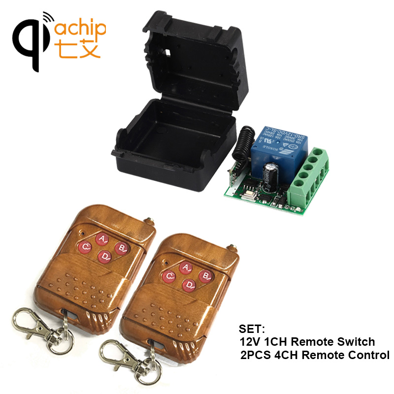 433Mhz Universal Wireless RF Remote Control Switch DC 12V 10A 1CH relay Receiver Module and 433.92 Mhz 2PCS 4CH Remote Controls image