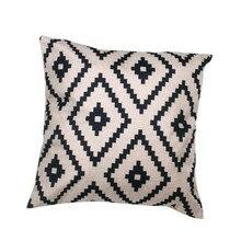 Funda de almohada con patrón geométrico moderno Simple 45cm * 45cm Lino nueva y de alta calidad funda de cojín hogar café decorativo