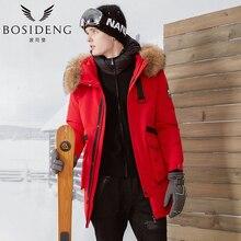 BOSIDENG 2017 NEW Winter Goose Down Coat Men Long Down Parka Down Jacket Big Real Fur Thicker Outwear Hooded Windproof B70142021