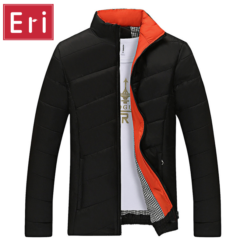 Candy Color Winter Jacket Men Slim Fit Black Coats Jackets Brand Fashion Stand Collar Zipper Coat