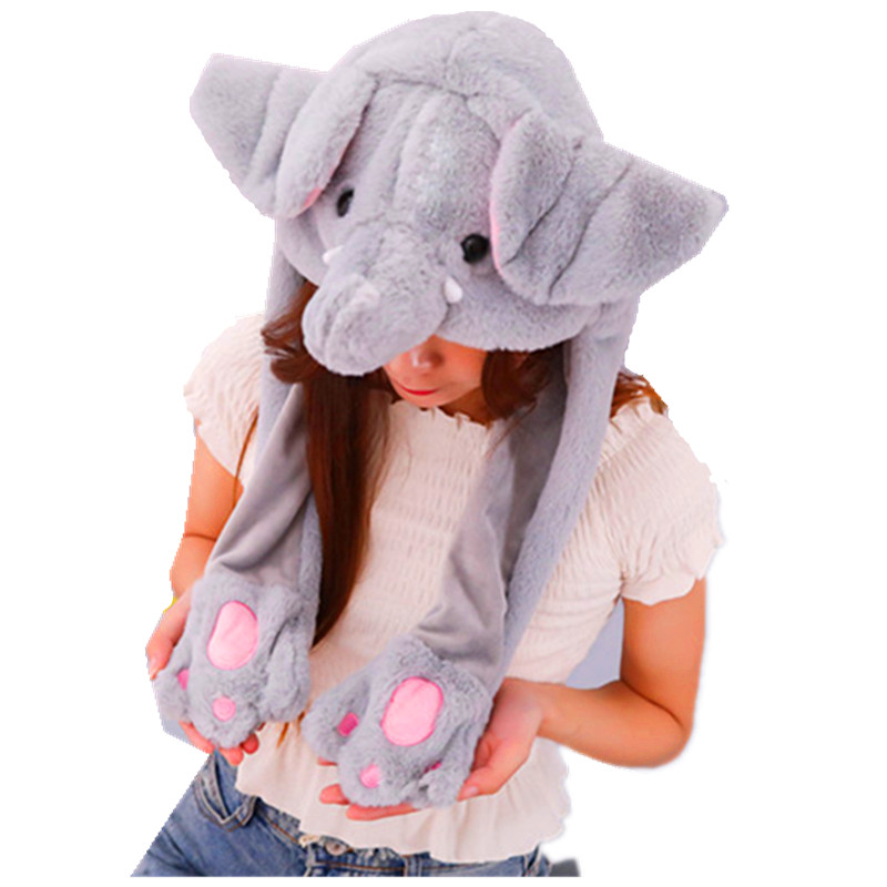 Elephant With Ears Moving white Cartoon Animal Plush Dynamic Hat Children's Winter Warm Cap Combined Scarf and Glove