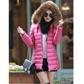 5 Color Fashion Women Faux Fur Hooded Ultra Light Winter Slim Cotton Jacket Outerwear Parka Female Warm Down Parkas Jacket A20