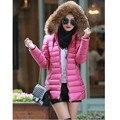 Fashion Women Faux Fur Hooded Ultra Light Winter Slim Cotton Jacket Outerwear Parka Female Warm Parkas Jacket A-20