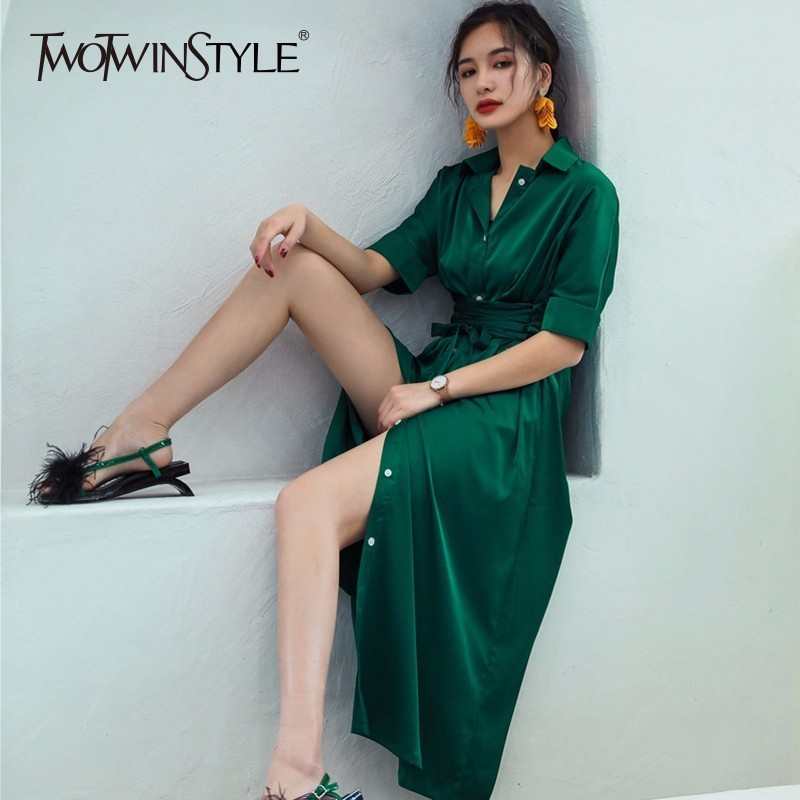 TWOTWINSTYLE Chiffon Dress Womens Lace Up High Waist Short Sleeve Split Long Holiday Dresses 2018 Summer Fashion Elegant Clothes