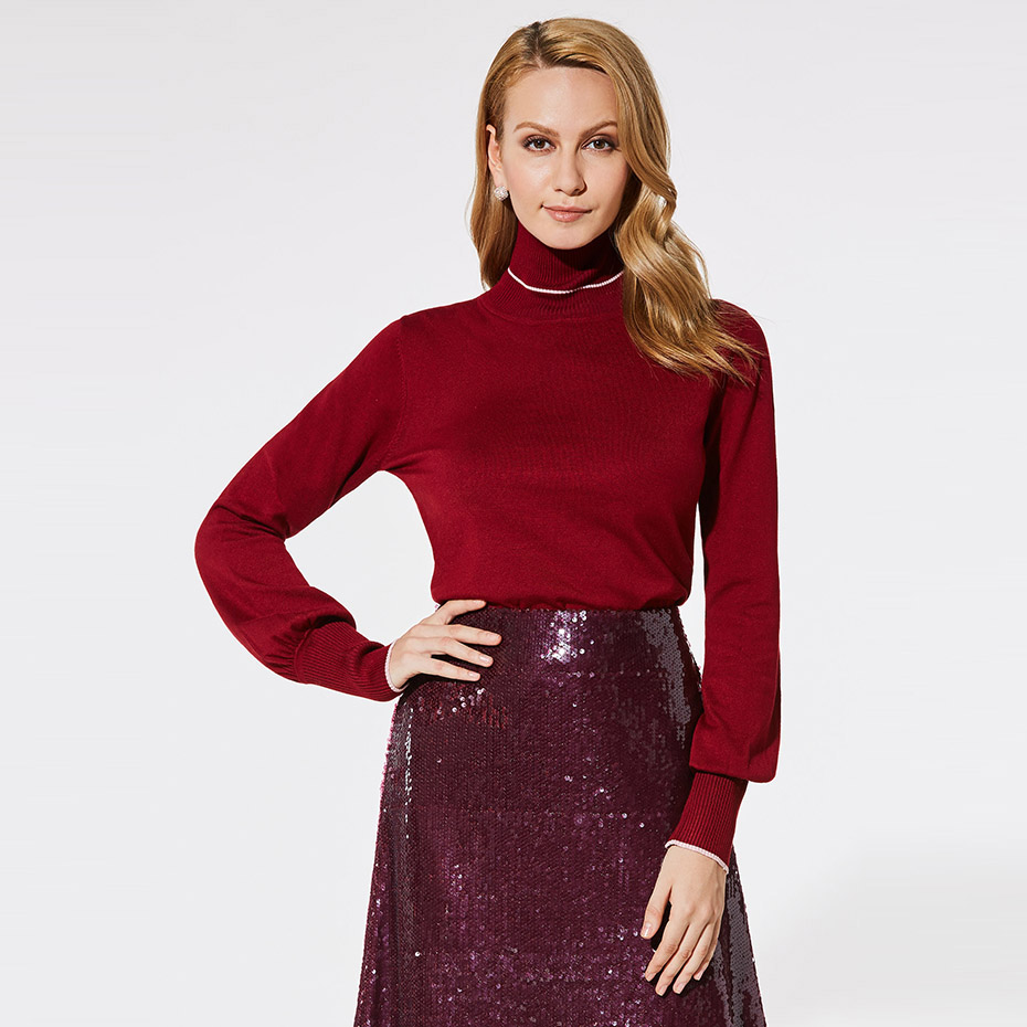 Women sweater pullover basic style knitted top solid burgundy turtleneck long lantern sleeve sweater plus size casual sweater