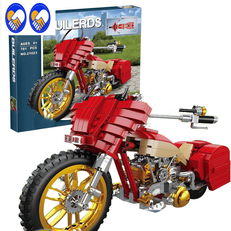 A Toy A Dream New Lepin 21023 Genuine Creative Technic Series The Plating Harley Motorcycle Set Educational Building Blocks Toys a toy a dream lepin 02043 718pcs building blocks bricks new genuine city series airport terminal toys for children gifts