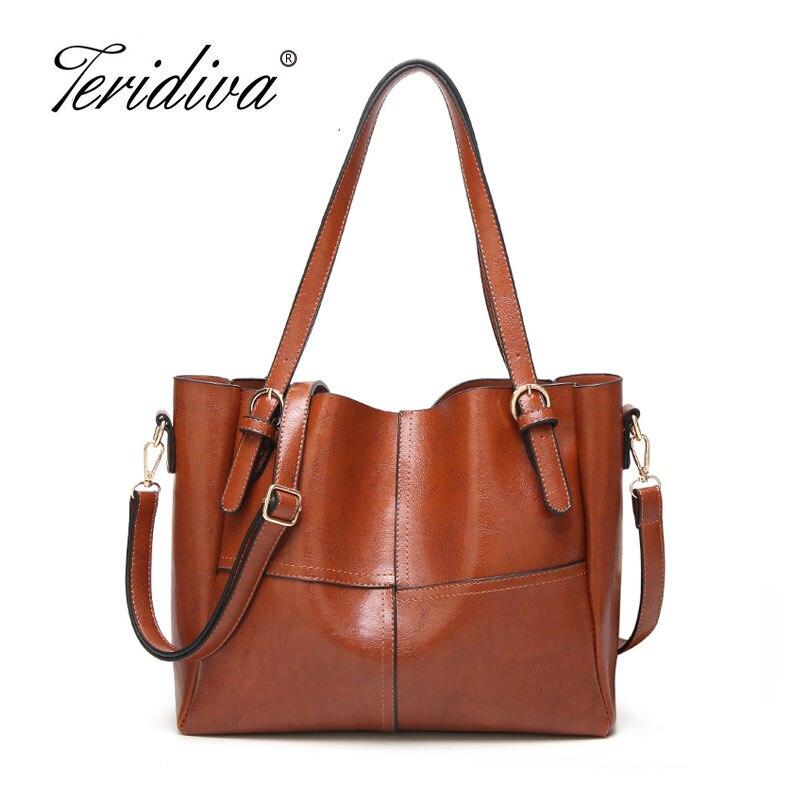Teridiva Women's Handbag Ladies Pathwork Women Leather Handbags Casual Tote Shoulder Bags Vintage Bag Bolsas Femininas Purse