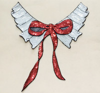White Bowknot Sequined Lace Neckline Collar Applique Patches For Clothing Fabric Patch Parches Bordados Embroidered Patches