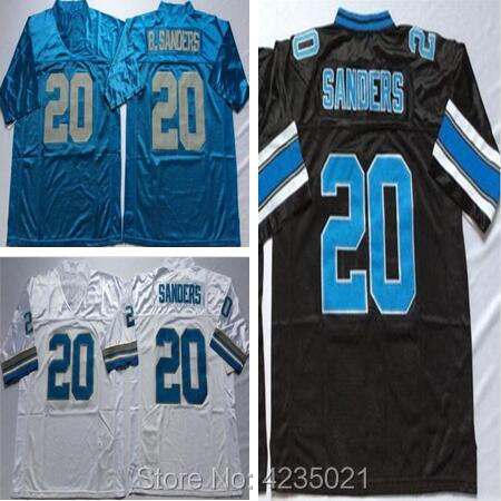 cf1b9c178e63 Mens Throwback  20 Barry Sanders Embroidered Retro Star Football Jersey  Size M-XXXL