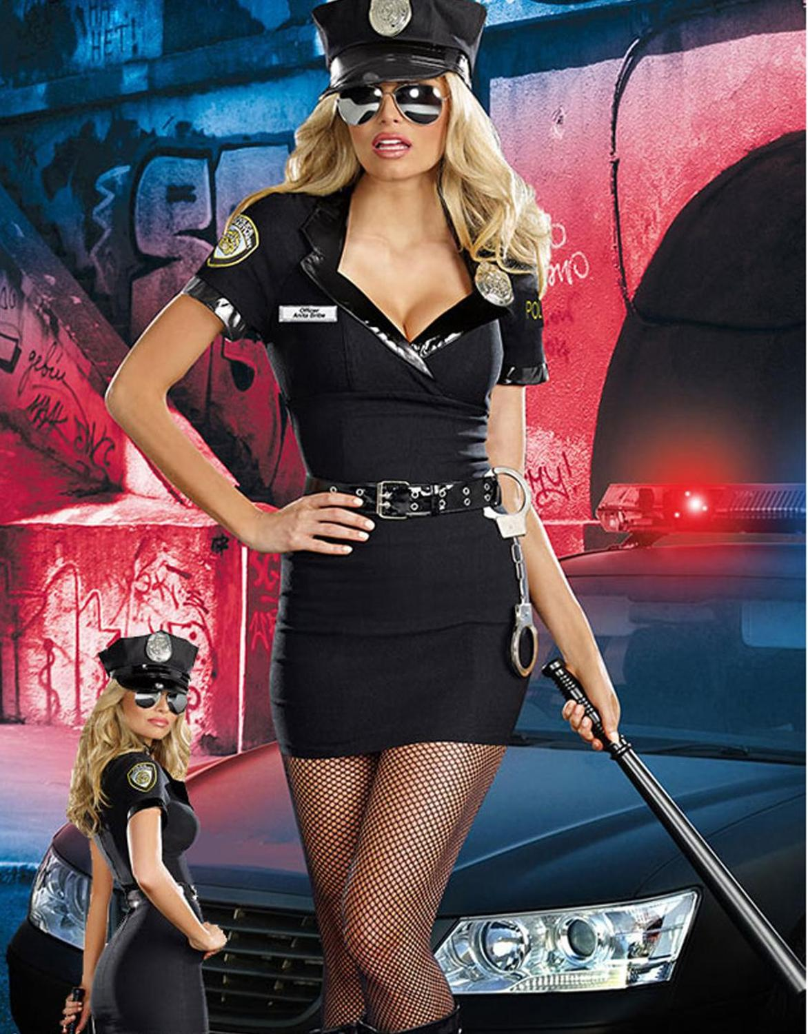 Dirty <font><b>Cop</b></font> Officer Anita Bribe Costume <font><b>Sexy</b></font> Female <font><b>Cop</b></font> Officer Uniform Policewomen Costume Halloween Adult Cosplay Fancy Dress image