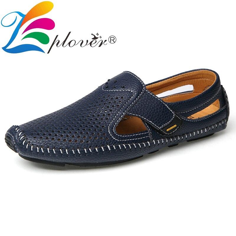 Hot Sale Hollow Men Loafers Split Leather Shoes Men Boat Shoes Fashion Brand Men Casual Shoes Male Leather Shoes Mocassin Homme Big Size