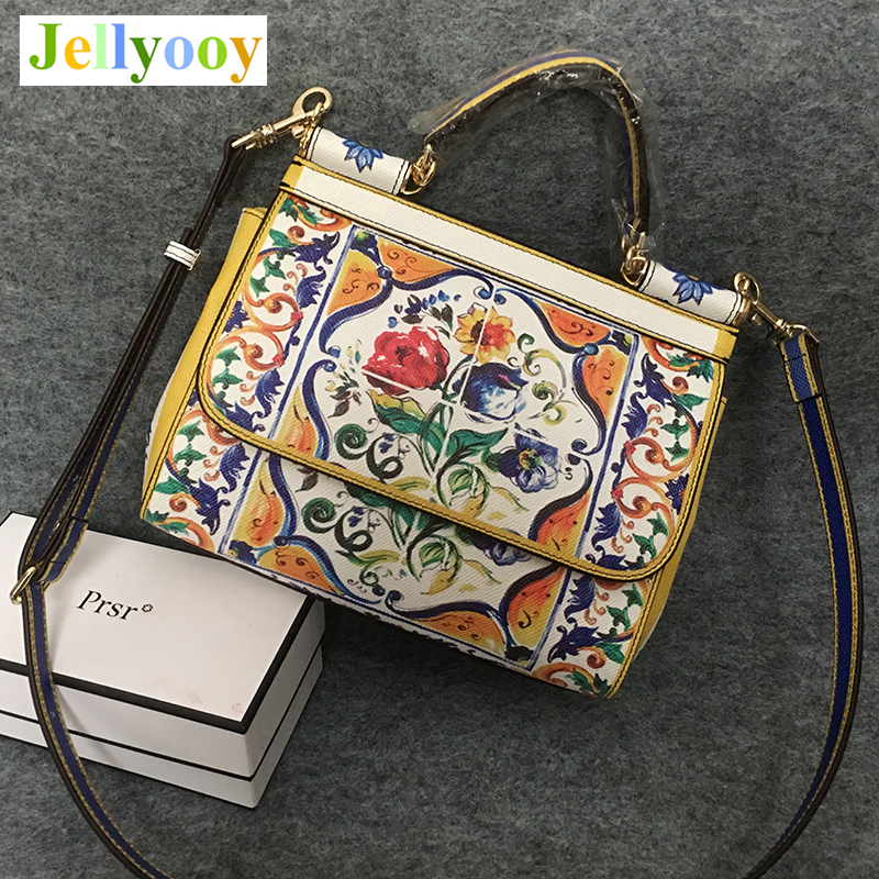 Luxury Brand Ethnic Flower Print Sicilian Tote Bag Women Platinum Bag Famous Design Female Shoulder Bag/Handbag Original Quality stylish women s tote bag with clip closure and crocodile print design