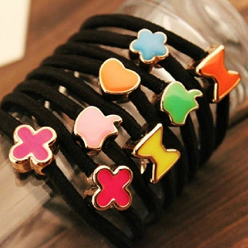 Rubber Bands for Women Girls Hair Bands 10 Pcs/Lot Style Gum for Hair Accessories Black Hair Ornaments Fashion 2017 Wholesale