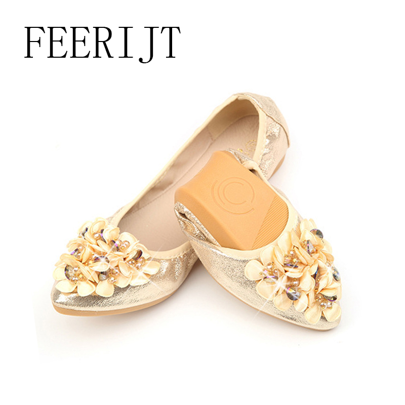 Women Comfortable Slip On Flat Shoes Sequined Cloth Women Casual Work Mother Shoes Plus Size Fold UP Women Flats 063