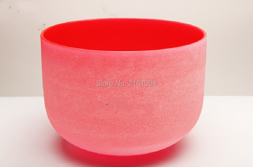 ФОТО Pitch C Root Chakra Red Colored Frosted Quartz Crystal Singing Bowl 6