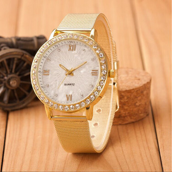 CREATIVE 2016 New Watches Women Classy Ladies Crystal Roman Numerals Gold Mesh Band Wrist Quartz Watch relogio feminino