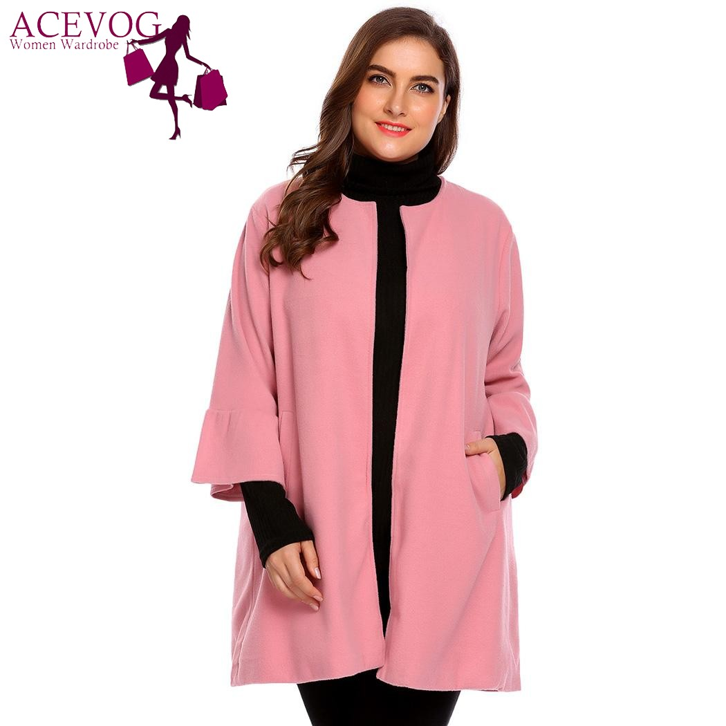 ACEVOG Women Parka Plus Size Winter Woolen Coat Flare Long Sleeve Jacket Open Front Solid Black Autumn Overcoat Outwear L-4XL