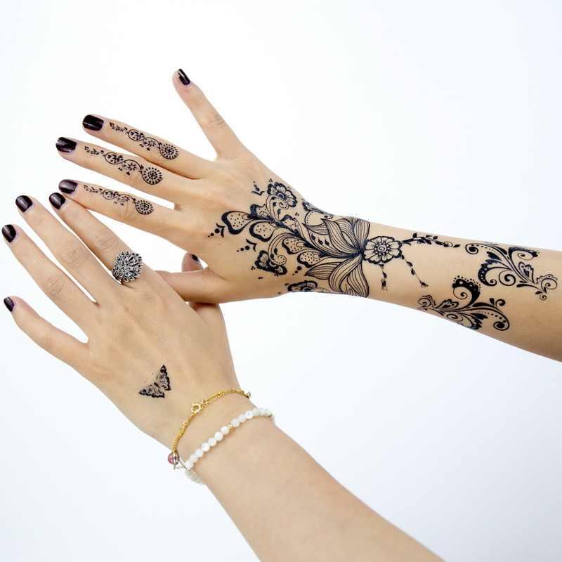 d04a84f7a16af ... 1pc black lace henna tattoo set flash Arabic Indian Mandala Plum  blossom butterfly wedding for bride ...