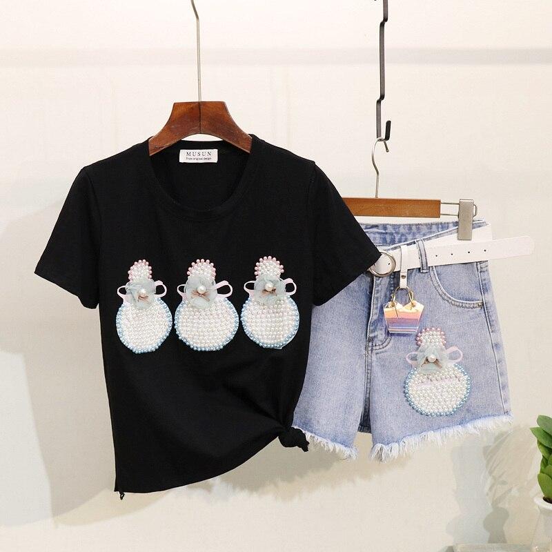 Tenue d'été femmes mode perle perle flacon de parfum imprimé T-shirt à manches courtes + Brimmed Denim Shorts Twopiece ensembles fille