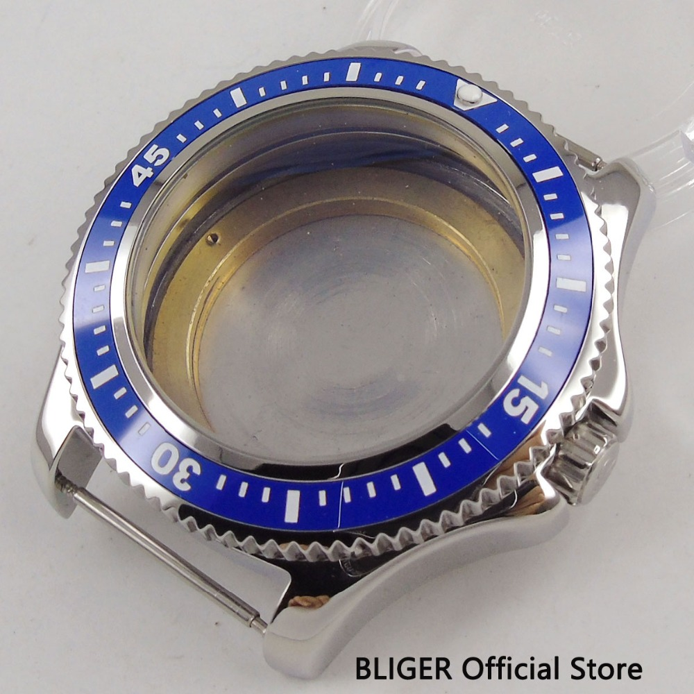 BLIGER New 44MM Blue Ceramic Rotating Bezel 316L Stainless Steel Watch Case Fit ETA 2836 MIYOTA 8215 821A DG 2813 MovementBLIGER New 44MM Blue Ceramic Rotating Bezel 316L Stainless Steel Watch Case Fit ETA 2836 MIYOTA 8215 821A DG 2813 Movement