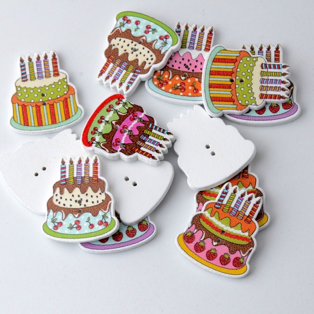 Free Shipping Retail 20pcs Mixed 2 Holes Cartoon Birthday Cake Food Pattern Wood Sewing Buttons