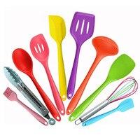 Kitchen Cooking Tool Sets 10Pcs/Set Silicone Colorful Baking Utensils Set Baking Tool Kit Spoon Turner Kitchen Bar Accessories