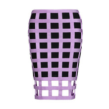 Top Quality Celebrity Purple Black Plaid Tight Bandage Skirt Elegant Party Bodycon Skirt