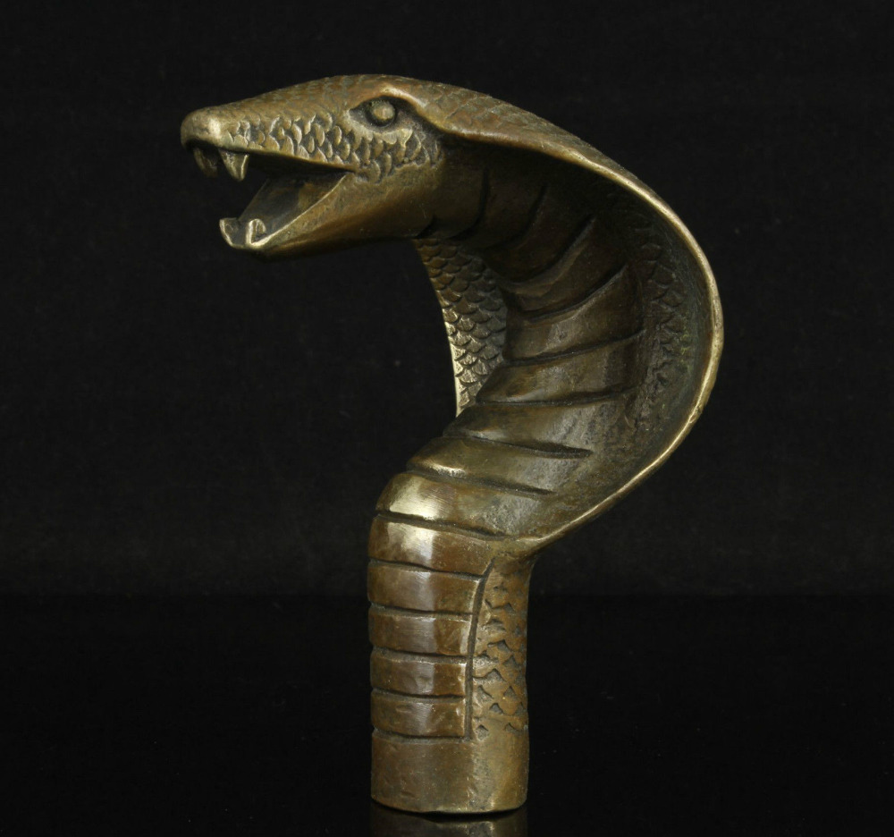 China Collectible Old Handwork Carving Bronze Cobra Statue Cane Head Free shipping