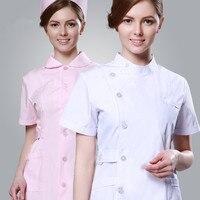 2017 Verano de manga corta slim fit ropa enfermera Médicos y Spa uniformes blanco matorrales hospitalidad uniformes ventas envío libre
