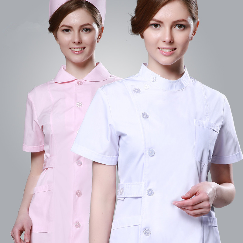 2020 Summer Short Sleeve Slim Fit Nurse Clothing Medical And Spa Uniforms White Scrubs Hospitality Uniforms Sales Free Shipping