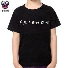 Boy and Girl Friends Fashion Cotton T-shirts Kid's Short Sleeve Soft Black Tee Tops Baby Brand Clothes Boys Christmas Shirt
