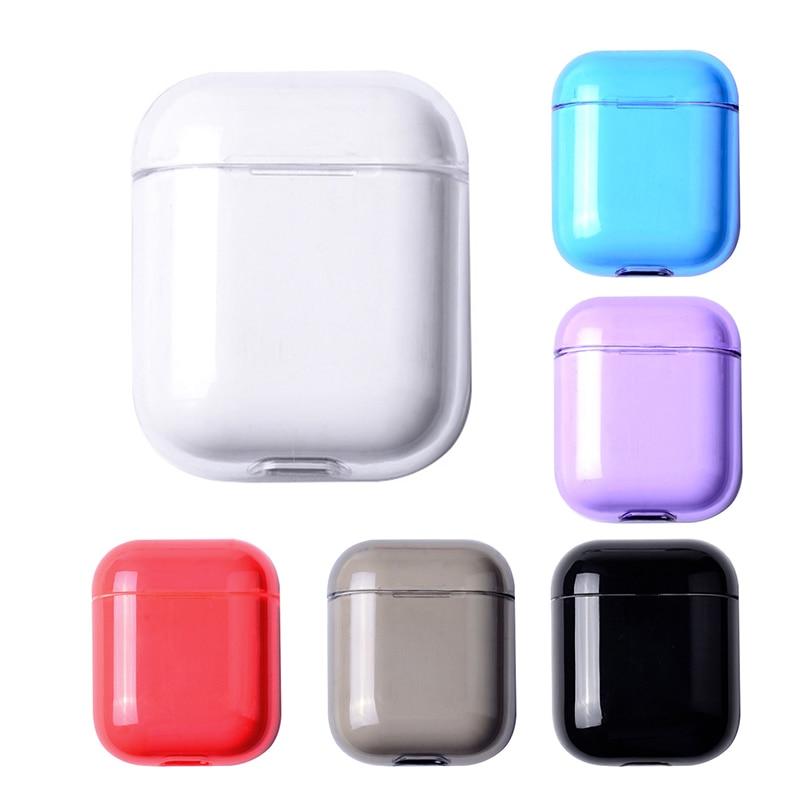 Новый цветной прозрачный Футляр для беспроводных наушников, чехол для Apple AirPods, жесткий защитный чехол для ПК, чехол для AirPods