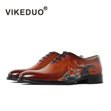 Vikeduo  Hand Painted Mens Oxford Shoes Genuine Cow Leather
