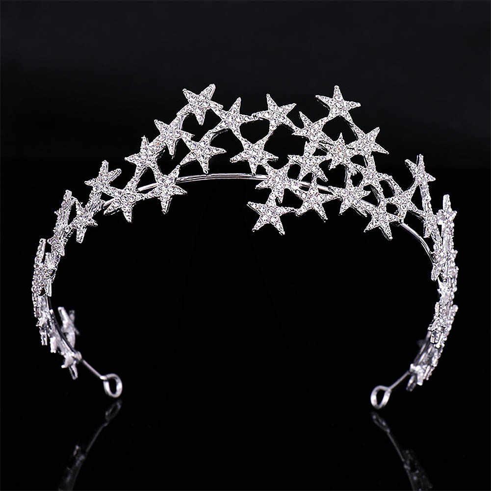 Gümüş Taklidi Yıldız Taçlar Tiaras de Noiva Başlığı Gelin Saç Takı Kadın Süsler Düğün Gelin saç aksesuarları VL