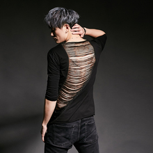 Men ripped punk hiphop t shirt nightclub singer stage costume mens sexy back hollow out hip hop slim fit tee shirts streetwear