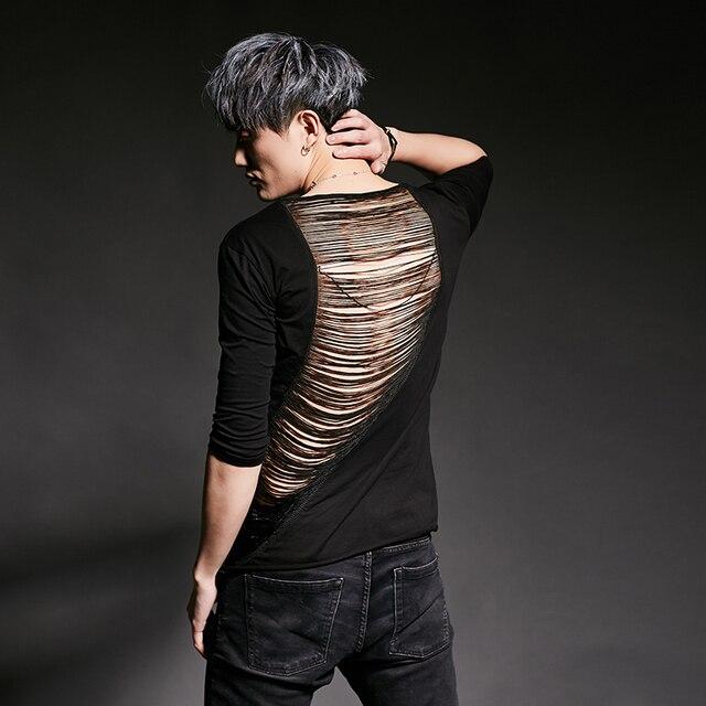 T shirt déchiré punk hip hop pour homme, streetwear, costume de chanteur de boîte de nuit, sexy, dos ajouré, hip hop, slim fit