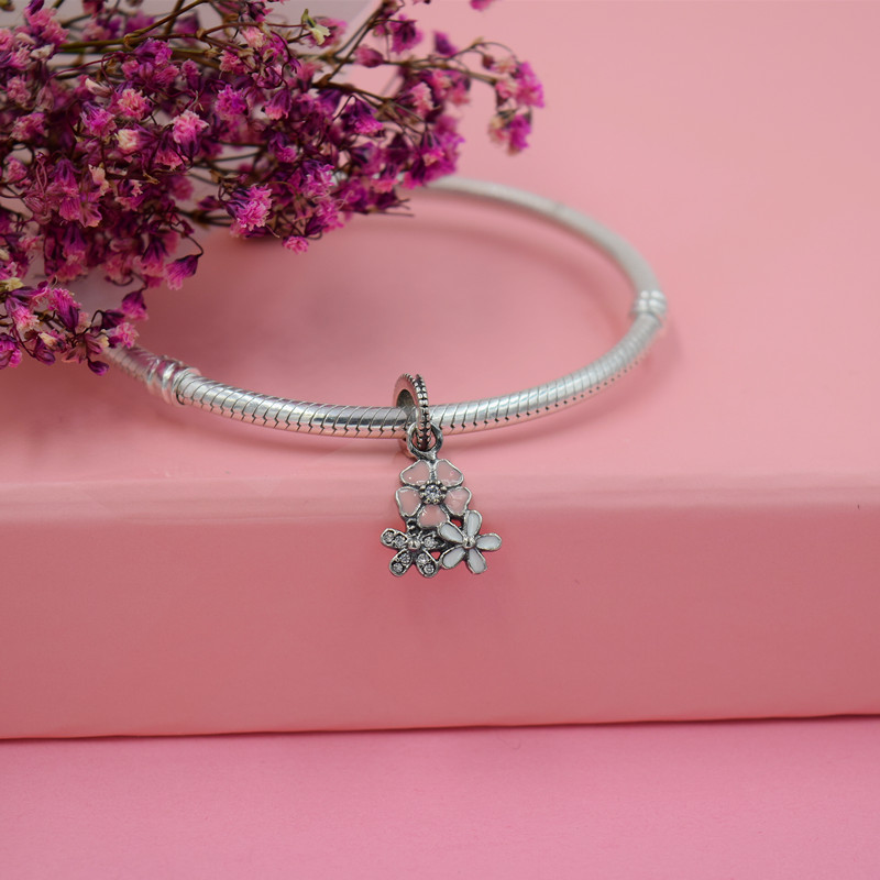 Yanxizao 2018 Fashion 925 Silver CZ Charm Beads Fit Pandora Zircon Pink Flower Bracelet Pendant Necklace Girls Jewelry Beautiful