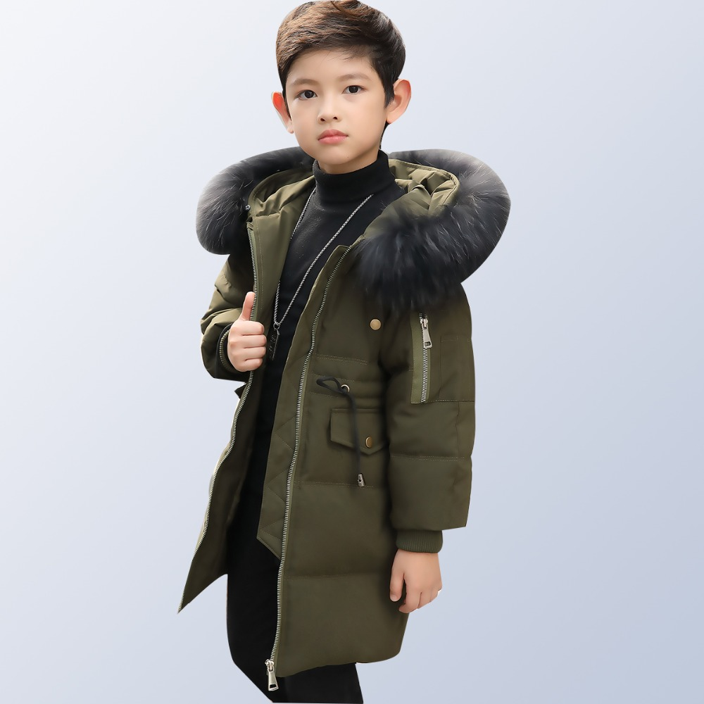 2018 New Children Winter Jacket Girl Winter Coat Kids Boys Warm Thick Fur Collar Hooded Long Down Coats for Teenage 8 12 14 Year fashion children winter coat long down jacket for girl long parkas kids hooded color raccoon fur collar coat zipper outerwear