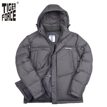 TIGER FORCE 2016 New Brand Men Down Jacket 70%White Duck Down Winter Down Coat Hooded Jacket European Size Free Shipping D-184