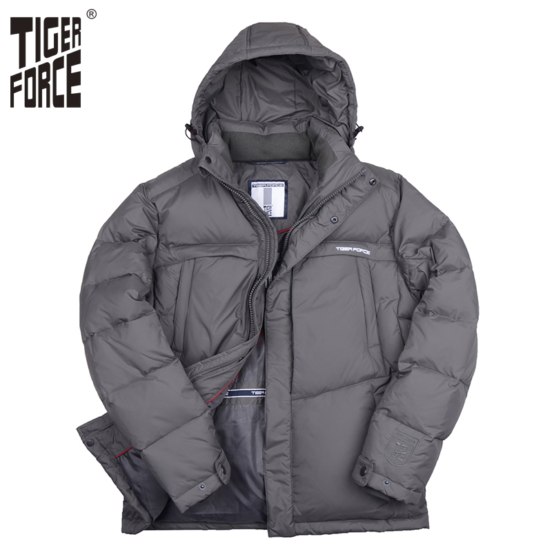 TIGER FORCE 2017 New Brand Men Down Jacket 70 White Duck Down Winter Down Coat Hooded