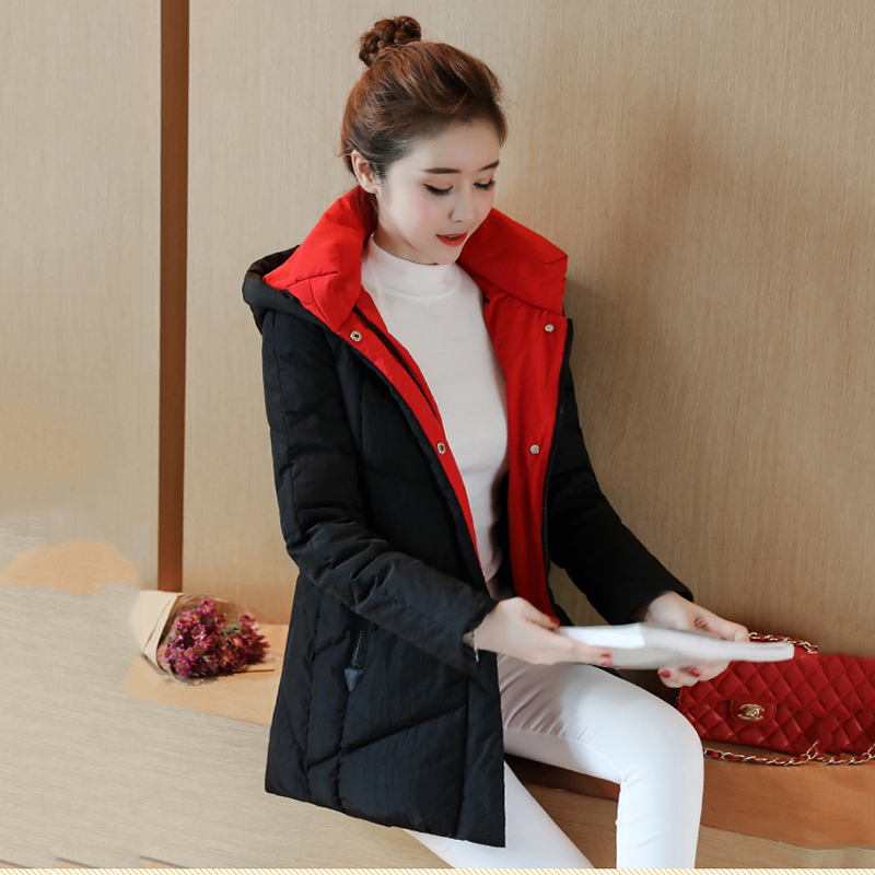 Winter women down jacket 2018 new solid color medium long section high quality Thickening hooded warm women down jacket ll654