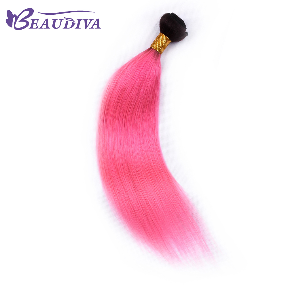 BEAU DIVA Peruvian Straight Hair TB/PINK BundlesHair Extension 100% Human Hair Weave Bundles Remy Hair only one piece