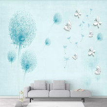 Simple hand-painted butterfly dandelion TV background wall professional production mural wholesale wallpaper poster photo