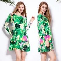 Seasons Spring Autumn Leisure Loose Slim Fit Pattern 2016 O Neck Women Cotton T Shirt Dress