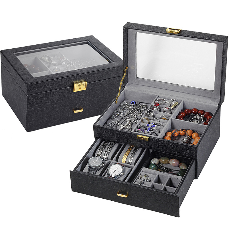 online get cheap mens watch organizer aliexpress com alibaba group quality pu wooden or nts gift accessories display boxes large carrying cases casket men jewelry organizer box for wrist watch
