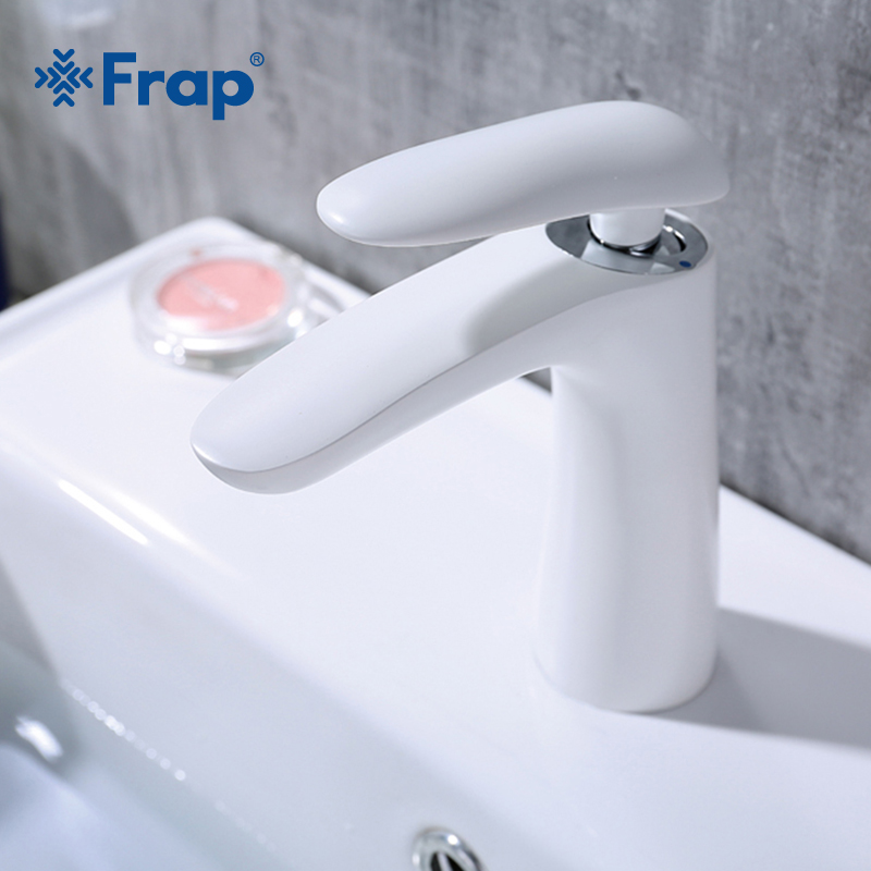Frap new brass white bathroom basin faucet washbasin waterfall faucets tap bathroom for sink cold and